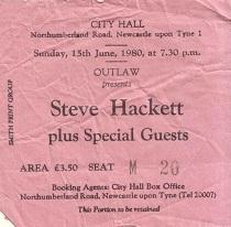Stub - Steve Hackett - [15 Jun 1980] Newcastle City Hall