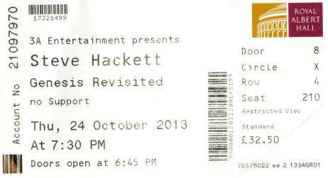 Stub - Steve Hackett - [24 Oct 2013] Royal Albert Hall