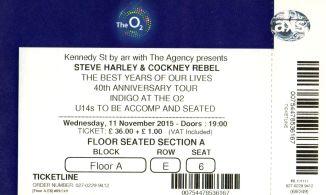 Stub - Steve Harley & Cockney Rebel [11 Nov 2015] London O2 Indigo
