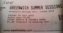 Stub - Steve Harley & Cockney Rebel [13 July 2013] London