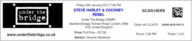 Steve Harley & Cockney Rebel [20 Jan 2017] London 'Under the Bridge'