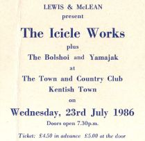 The Icicle Works [23 July 1986] London Kentish Town & Country Club