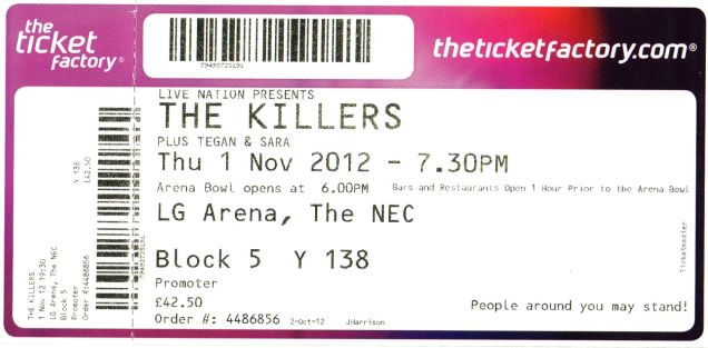 The Killers [1 Nov 2012] Birmingham NEC
