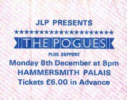 The Pogues [8 Dec 1986] London Hammersmith Palais