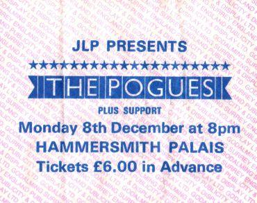 Stub - The Pogues [8 Dec 1986] London Hammersmith Palais