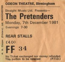 The Pretenders [7 Dec 1981] Birmingham Odeon