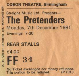 The Pretenders [7 Dec 1981] Birmingham Odeon