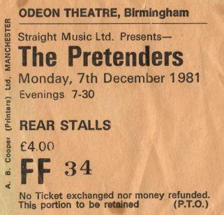 Stub - The Pretenders [7 Dec 1981] Birmingham Odeon