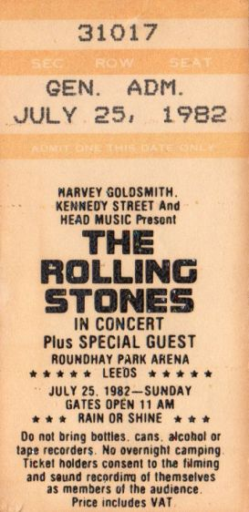 Stub - The Rolling Stones [25 July 1982] Leeds Roundhay Park