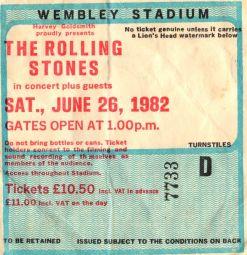 Stub - The Rolling Stones [26 Jun 1982] London Wembley Stadium
