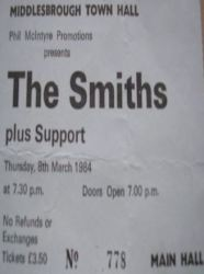 Stub - The Smiths [8 Mar 1984] Middlesbrough Town Hall