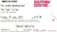 Stub - The Tiger Lillies [7 Jun 2013] - London Wonderground
