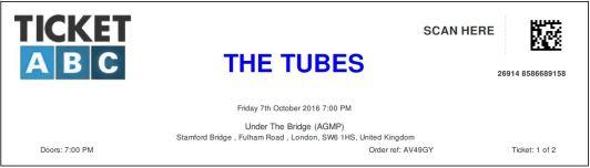 Stub - The Tubes [7 Oct 2016] London 'Under the Bridge'