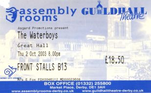 Stub - The Waterboys [2 Oct 2003] Derby Assembly Rooms
