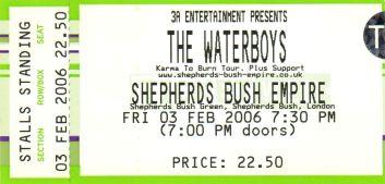 Stub - The Waterboys [3 Feb 2006] London Sheperd's Bush Empire