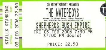 The Waterboys [3 Feb 2006] London Sheperd's Bush Empire
