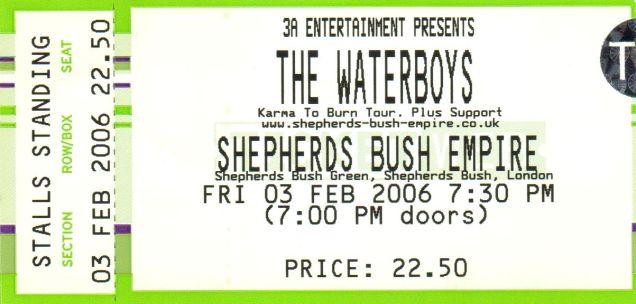 The Waterboys [3 Feb 2006] London Sheperd's Bush Empire