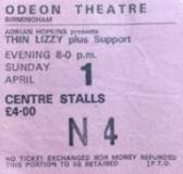 Stub - Thin Lizzy [1 Apr 1979] Birmingham Odeon