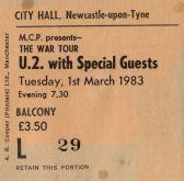 Stub - U2 [1 Mar 1983] Newcastle City Hall