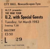U2 [1 Mar 1983] Newcastle City Hall