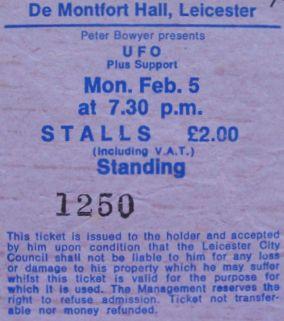 Stub - UFO [5 Feb 1979] Leicester DeMontfort Hall