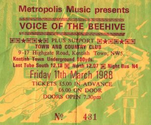 Stub - Voice of the Beehive [11 Mar 1988] London Kentish Town & Country Club