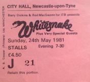 Stub - Whitesnake - [24 May 1981] Newcastle City Hall