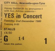 Stub - Yes [2 Dec 1980] Newcastle City Hall