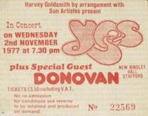 Yes [2 Nov 1977] Stafford Bingley Hall