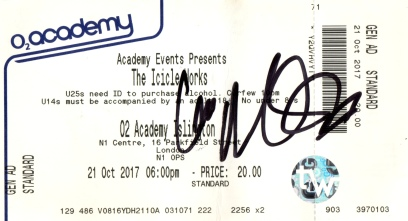 The Icicle Works - 21 Oct 2017 Stub signed