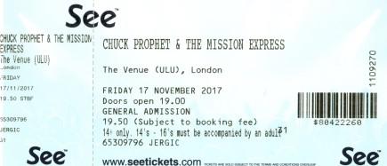 Stub - Chuck Prophet [17 Nov 2017] ULU London