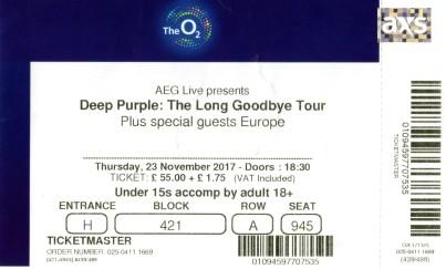 Stub - Deep Purple - [23 Nov 2017] London O2