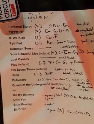 Flunk London Setlist