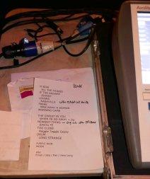 Set list for mixing desk - not followed!!