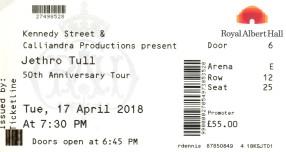 Stub - Jethro Tull [17 Apr 2018] Royal Albert Hall