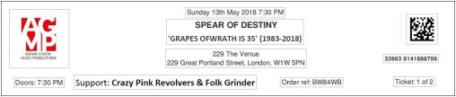 Spear of Destiny - [13 May 2018] 229 London