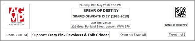 [Stub] Spear of Destiny - [13 May 2018] 229 London