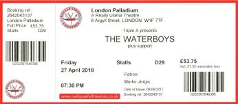Stub - The Waterboys [27 Apr 2018] London Palladium