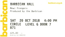 Mew [20 Oct 2018] Barbican, London