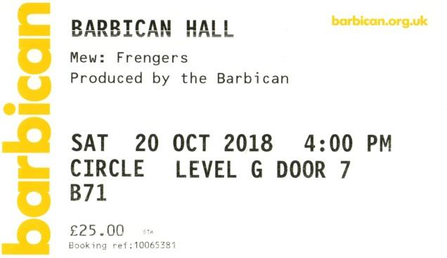 Mew [20 Oct 2018] Barbican, London