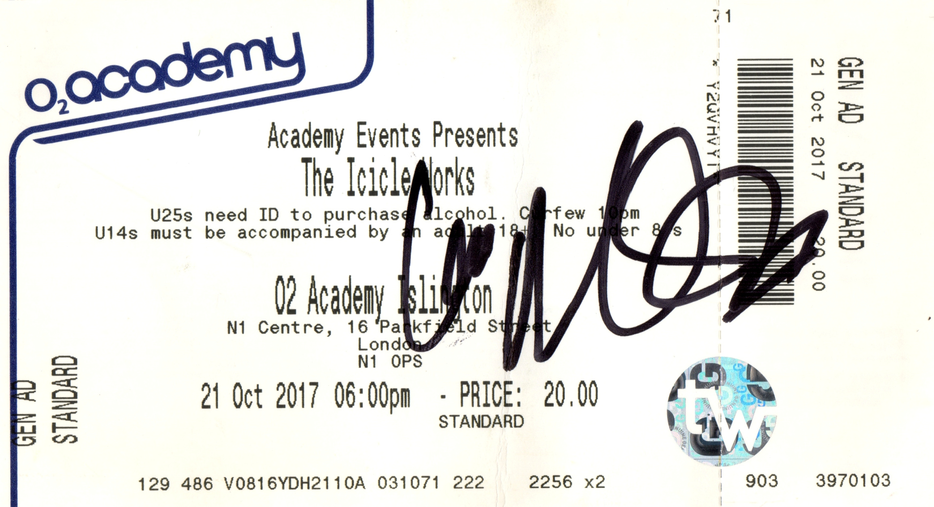 the icicle works - 21 oct 2017 stub signed ian mcnabb