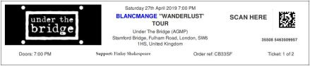 Blancmange [27 Apr 2019] Under the Bridge, Chelsea