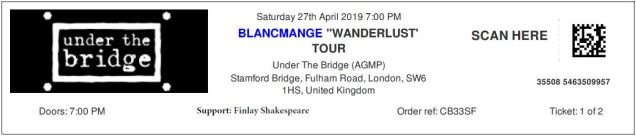 Blancmange [27 Apr 2019] Under the Bridge, Chelsea